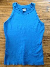 Ann Taylor  - Women's  - Solid Blue Silk Sleeveless Singlet Knit Top SZ Small