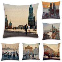 City Building Cotton Linen Pillow Case Waist Throw Cushion Cover Home Decor
