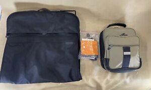 Briggs & Riley Baseline Black Slim Bi-Fold Garment Bag 1179 & Large Toiletry Bag