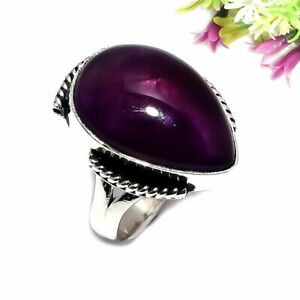 African Amethyst Gemstone 925 Sterling Silver Jewelry Ring Size 7 1670