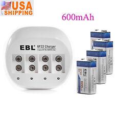 EBL 4pcs 600mAh Li-ion 9V Rechargeable Battery Batteries + 9VOLT Battery Charger