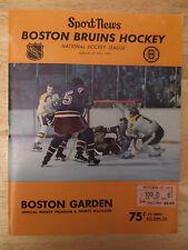 Boston 1971 BRUINS Program vs NEW YORK RANGERS w/ TICKET Bobby Orr Phil Esposito