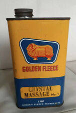 Vintage Collectable Golden Fleece 1 Pint oil tin Crystal Massage