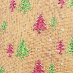 4 PIECES OFF CUTS NET FABRIC REMNANT 136cms X 23cms GLITTER CHRISTMAS TREES
