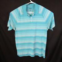 OAKLEY Men's Golf Polo Shirt Short Sleeve L Regular Fit Blue White Striped