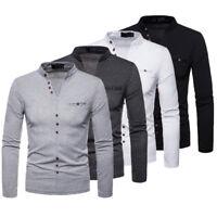 Winter New Men's Slim Fit Long Sleeve Shirt T-shirts Tee Shirt Tops