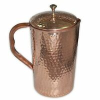 Indian Copper Pitcher Water Storage Benefit Ayurveda Hammered Jug 1000 ML Health