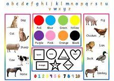 Bebé/niño-primer aprendizaje Mat-Animales Colores Formas Letras Números-A4