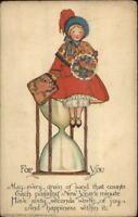TUCK Ye Olden Days New Year Series Little Girl on Hour Glass c1915 Postcard