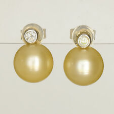 GOLDEN PEARL EARRINGS CULTURED 8.8mm PEARLS  GENUINE DIAMONDS REAL 14K GOLD NEW