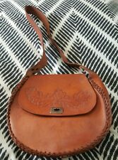 Handmade Boho Byron Bay Festival Brown Tooled Crossbody Shoulder LeatherHandbag