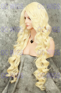 Extra Long Loose Curly Heat OK Lace Front Human Hair Blend Wig Light Blonde OCEZ