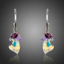 Made With Multi-Color Sparkle Shine Swarovski Crystal Drop Dangle Heart Earrings