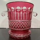 VTG Cut To Clear Czech Bohemian LARGE Cranberry Red Ice Bucket