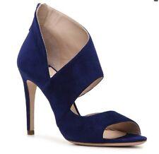 MIU MIU Prada Camoscio Navy Blue Peep Toe Sandal Pumps Heels US 6.5 / EU 36,5