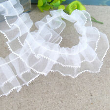 Hot White Lace Trim Craft Mesh Pleated Ruffled Gathered Ribbon Sewing DIY 1yd
