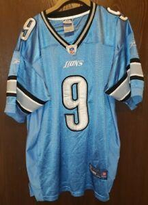 Reebok Blue Matthew Stafford Detroit Lions #9 Football Jersey Man 50 STITCHED