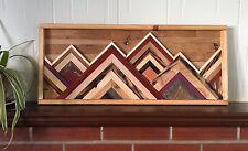 Handmade Mountains Reclaimed Mixed Wood Rustic Modern Art Wall Art Hanging