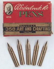 Five (5) Esterbrook 358 Art & Drafting flex dip pen nibs, vintage NOS