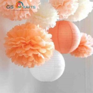 10Pcs 10cm / 4 inch Colorful Tissue Paper Pom Poms Flower Balls For Home Wedding