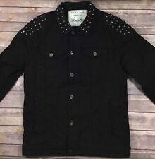 Zara Mens Button Down Studded Denim Jean Jacket Large Black Cotton Stretch 243