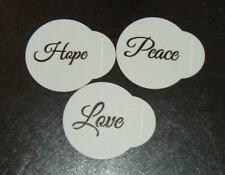3 x Cupcake Cake stencil set Airbrush Mylar Polyester Film Hope Peace Love