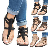 Women Ladies Ankle Strap Flat Sandals Strappy Buckle Gladiator Summer Shoes Size