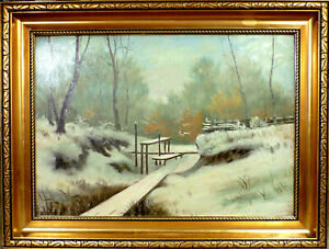 UNSIGNED! WINTER SCENERY WITH FOREST COVERED IN SNOW.  NO RESERVE