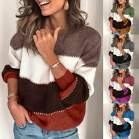 Women's Round Neck Knitted Loose Pullover Tops Plus Size Lantern Sleeves Sweater