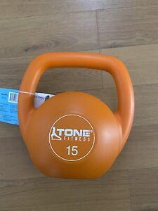 💪Tone Fitness CAP 15 lb Pounds Kettle Bell Kettlebell Vinyl NEW💪