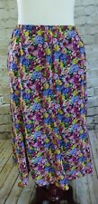 Notations Pink Yellow Navy Blue Floral Elastic Waist Skirt Women's Size XLARGE