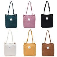 Women's Casual Canvas Corduroy Tote Bags Handbag Ladies Shoulder Shopping Bag