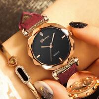 Fashion Women's Ladies Leather Band Analog Quartz Diamond Wrist Watch Watches