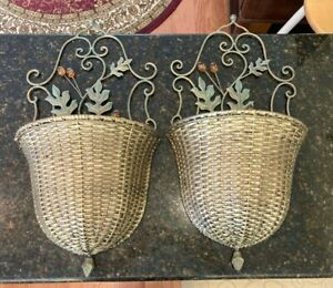 Wicker and Metal Half Wall Hanging Basket, 2 Baskets for Mail, Flower etc.