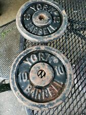 2 VINTAGE YORK BARBELL   STANDARD PLATES 1inch hole WEIGHT 10  LBS EACH