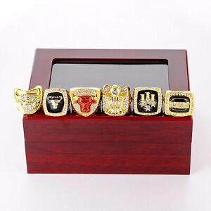 6pcs/set Chicago Bulls Championship Rings Size 11 /--