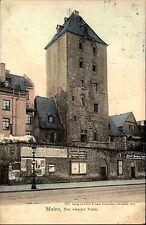 Mainz 1902 Strassen Partie am Eisernen Turm mit diversen Reklame-Tafeln AK