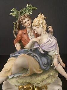 Antique Italian Porcelain Giuseppe Cappe Man & Lady Lovers Figurine