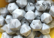 10x silicone beads DARKER MARBLE GREY 17mm hexagon BULK BPA free baby teething