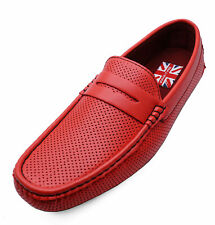 MENS RED FLAT SMART CASUAL MOCCASIN LOAFERS DECK SHOES DRIVING PUMPS SZIES 6-11