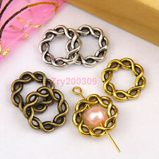 20Pcs Tibetan Silver,Antiqued Gold,Broze Twist Circle Bead Frame M1143