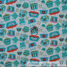 BonEful FABRIC FQ Cotton Quilt VTG White Aqua Blue Red Pink Green Kitchen Stripe