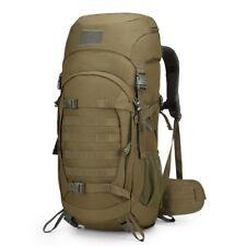 Backpack Tactical Military Bag Molle 50L Internal Frame Rain Cover Khaki