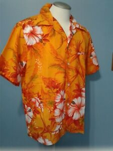 Vintage Reef Hawaiian Shirt XL Made in USA Floral Print Orange Bright Red White
