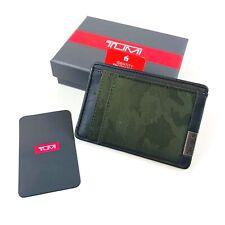 Tumi Olive Camo Nylon Leather Alpha SLG Money Clip Card Case Wallet Mens NWT