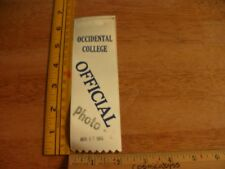1965 Occidental College Track & Field meet press Official pass ribbon