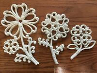 3 Homco FLOWERS White PLASTIC Wall Plaques HOME INTERIORS 7560