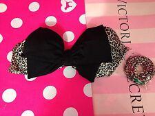 Victoria's Secret Swim Very Sexy Bow Bandeau Bikini Top Animal Print 34B NEW