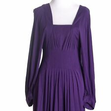 BCBG Max Azria Dress Purple Poet Sleeve Mini Pleated Cutout modal Small S