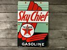 VINTAGE PORCELAIN TEXACO SKY CHIEF GASOLINE GAS AND OIL SIGN